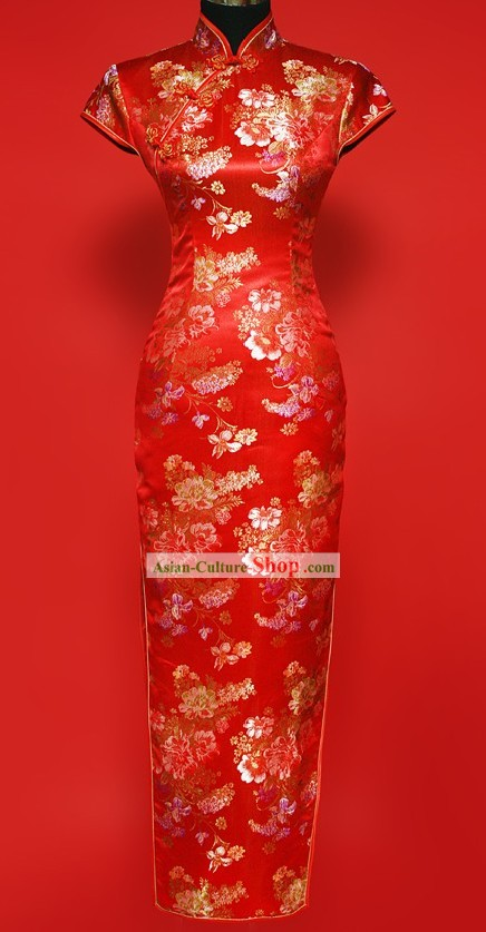 Chinese Classic Red Wedding Long Cheongsam for Women