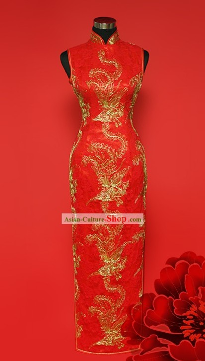 Chinese Stunning Red Gold Phoenix Wedding Cheongsam