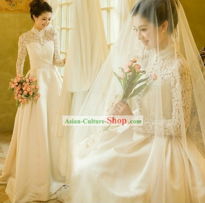 Modern Chinese Mandarin Collar Romantic Wedding Bridal Veil Dress