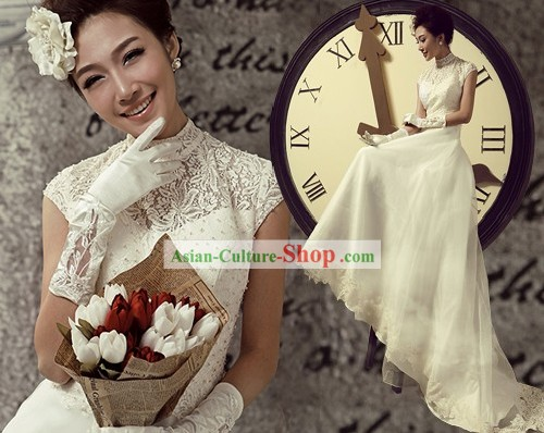 Traditional Chinese Qipao Style Wedding Veil Bridal Dress for Brides
