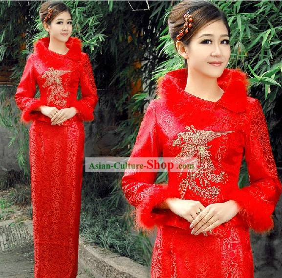 Traditional Chinese Red Phoenix Wedding Dress Set for Brides