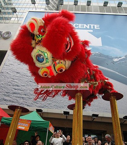 Supreme Lucky Business Opening Red Lion Dance Costume Complete Set