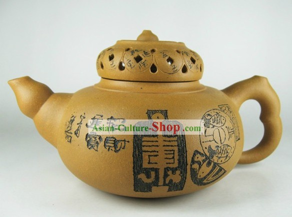 Traditional Chinese Zisha Hulu Gourd and Coins Teapot