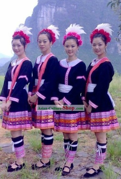 Chinese Ethnic Miao Clothing and Hat Complete Set for Women