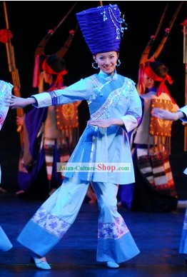 Chinese Ethnic Miao Clothes and Hat Complete Set for Women
