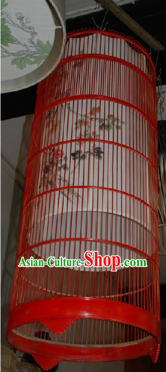 Ancient Qing Dynasty Antique Style Hand Painted Birdcage Lantern Set