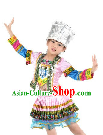 Chinese Miao Ethnic National Dance Costume and Silver Crown Complete Set for Children
