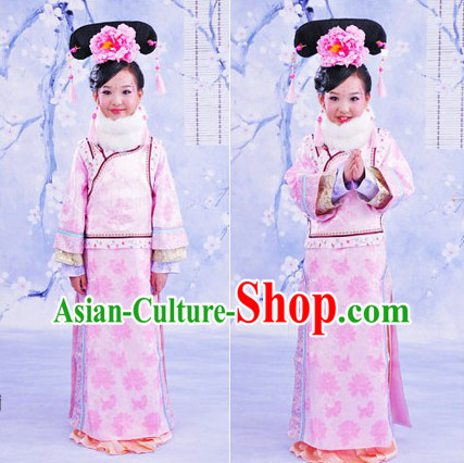 Traditional Chinese Palace Princess Dress and Headpiece for Girls