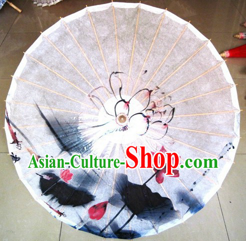 Traditional Chinese Handmade and Painted Lotus Umbrella