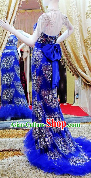 Stunning Shinning Blue Evening Dress for Women