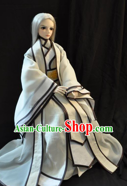 Ancient Chinese White Pure Man Costume