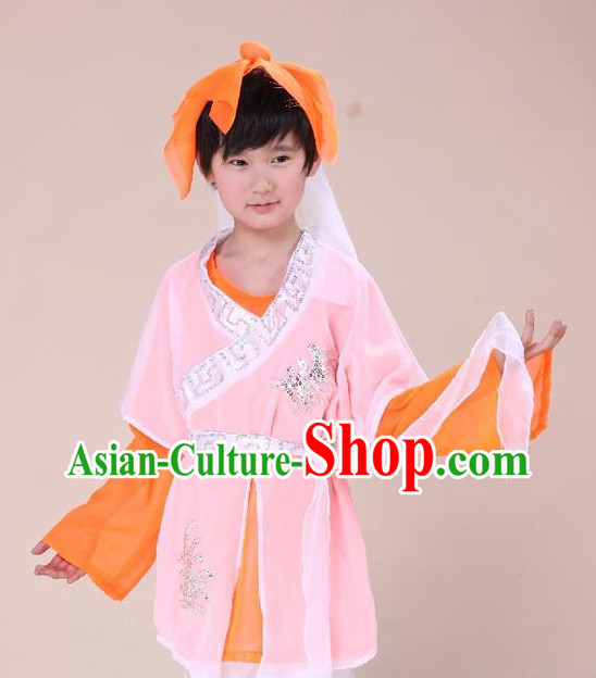 Ancient Chinese School Student Costume and Headpiece for Children