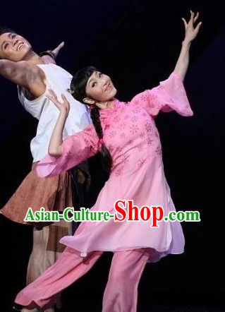 Chinese Classical Pink Flower Folk Dance Costume for Women