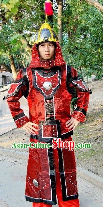 Ancient Chinese General Armor Costume and Helmet for Men