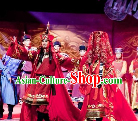 3ba3e563492 Chinese Mongolian Clothing and Mongolian Hat 2 Sets for Men and Women