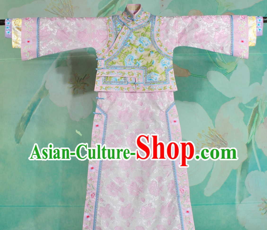 Qing Dynasty Imperial Princess Embroidered Flower Clothes Complete Set for Women