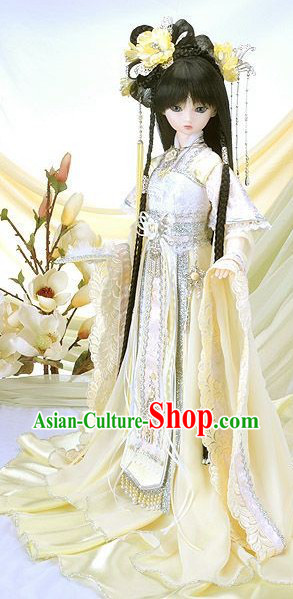 Ancient Chinese Light Yellow Princess Costumes