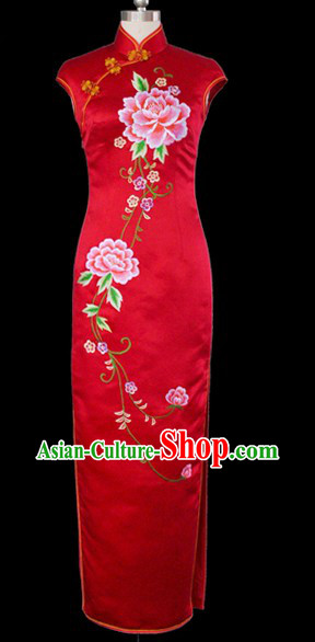 Classical Red Embroidered Peony Silk Long Cheongsam