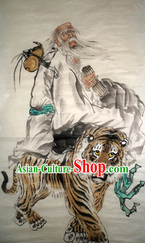 Traditional Chinese Painting Lao Tzu and Tiger by Yan Sheng