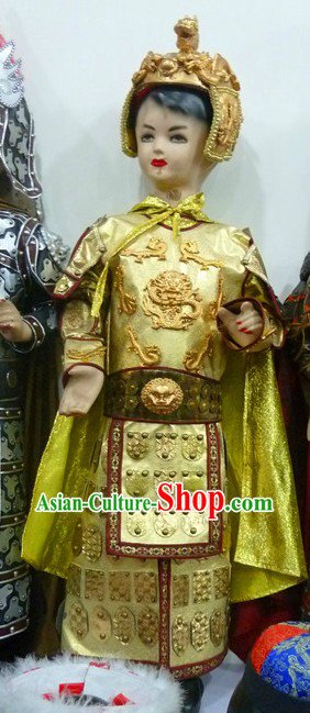 Ancient Prince Imperial Golden Armor Costumes and Helmet for Children