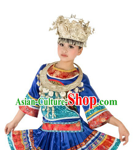 Traditional Chinese Miao Ethnic Dresses and Silver Hat for Women