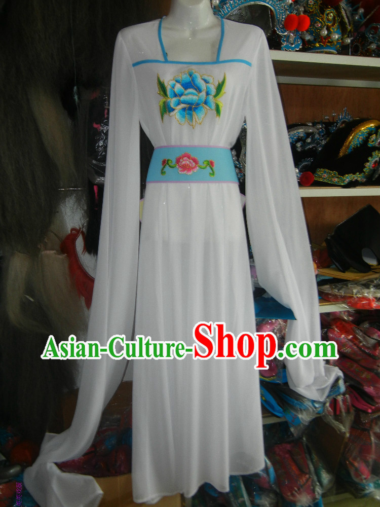 Long Sleeves Embroidered White Chinese Opera Dance Costumes for Women