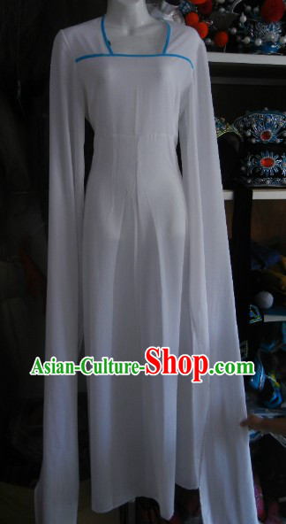 Long Sleeves Pure White Chinese Opera Dance Costumes for Women