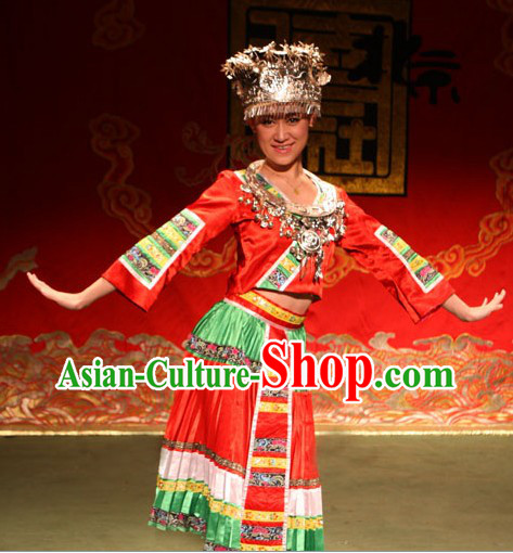 Traditional Chinese Miao Ethnic Clothing and Hat for Women