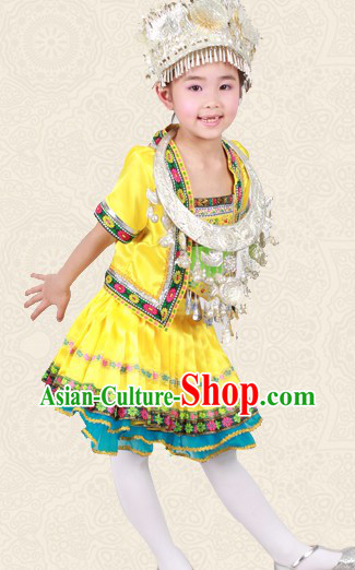 Yellow Chinese Miao Ethnic Group Clothes and Hat for Children
