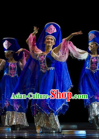 Chinese Classic Ethnic Dance Costumes and Hat Complete Set for Women