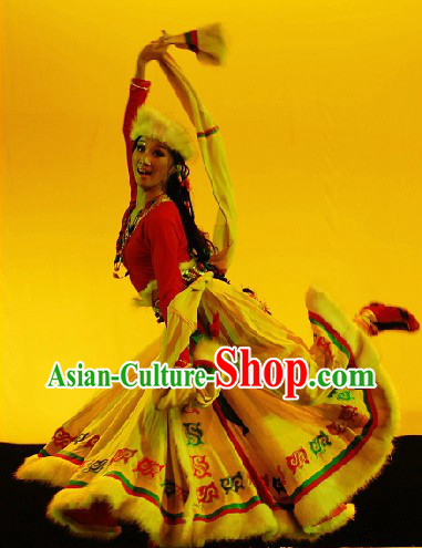 Tibetan Ethnic Shepherdess Clothing and Hat Complete Set for Women