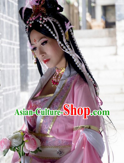 Pink Ancient Asian Princess Clothes and Hair Accessories Complete Set