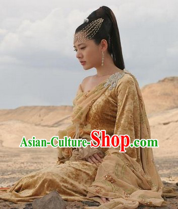 Ancient Korean Imperial Palace Princess Hair Accessories and Clothing Complete Set