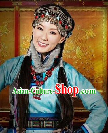Light Blue Mongolian Princess Clothing and Headwear Complete Set