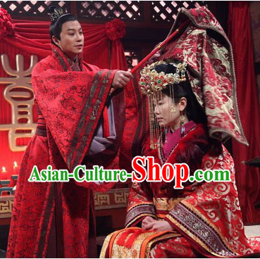 Phoenix and Peony Television Drama Bride and Bridegroom Costumes and Headwear Complete Set