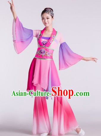 Chinese Classical Lotus Dance Costumes and Headdress Complete Set