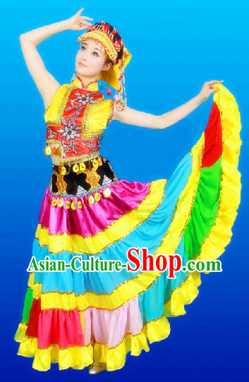 Traditional Chinese Yi Ethnic Clothing and Hat Complete Set for Women