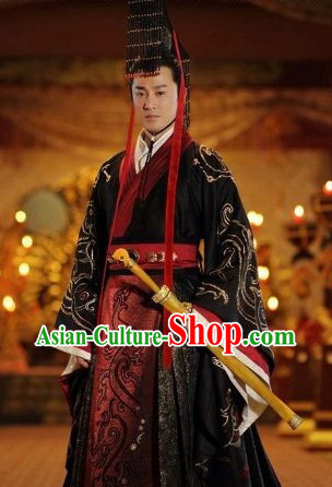 Ancient Chinese Emperor Clothing and Crown for Men