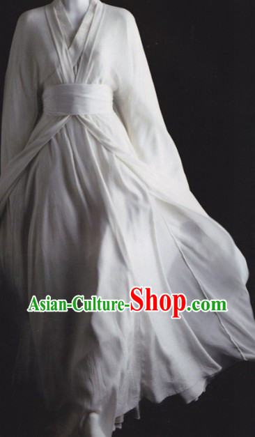 Traditional Ancient China White Hanfu Clothing for Men or Women