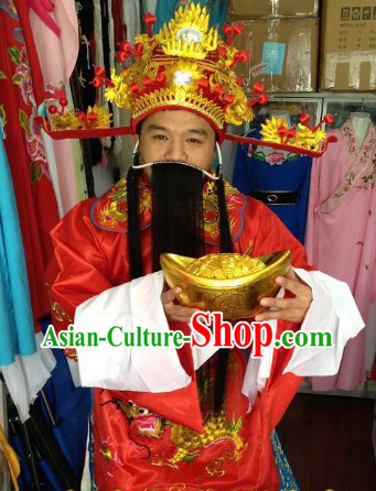 Traditional Chinese Male Cai Shen Ye Costumes and Helmet Complete Set