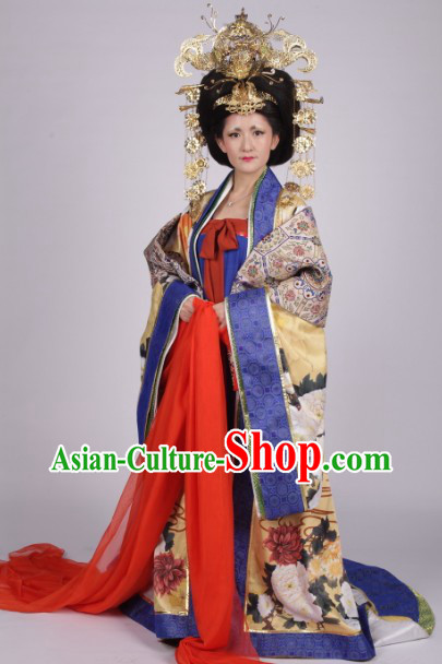 Traditional Ancient Chinese Wu Ze Tian Costumes and Headwear Complete Set