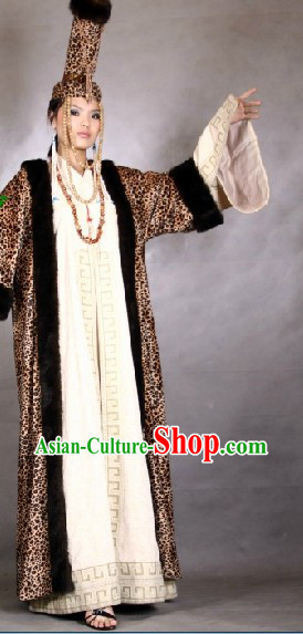 Traditional Mongolia Empress Clothes and Hat Complete Set for Women