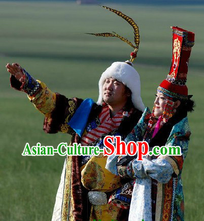 Traditional Mongolian Emperor and Queen Clothes and Hats Complete Set