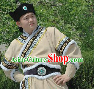 Mongolian National Clothing and Hat Complete Set for Men