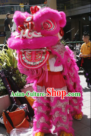 Pink Chinese Lion Dance Head and Costume Complete Set