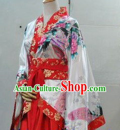Ancient Chinese Style Red Peacock Hanfu Clothing for Ladies