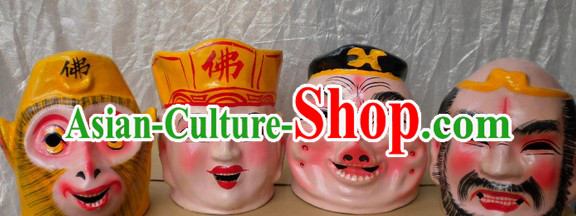 Chinese Journey to the West Tang Seng Zhu Ba Jie Sun Wukong Sha Heshang Four Masks Set
