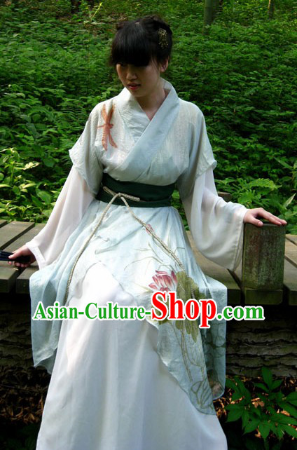 Ancient Chinese Summer Wear Hanfu Clothing Complete Set for Women