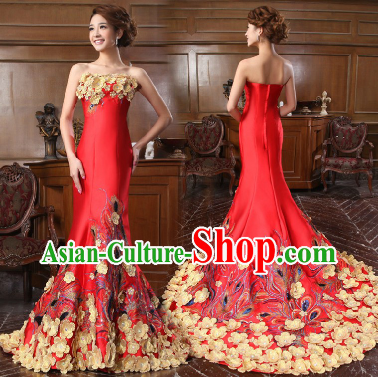 Stunning Chinese Red Bridal Wedding Dress