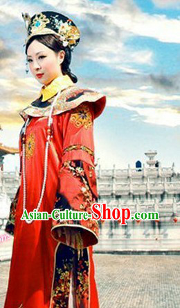 Qing Dynasty Imperial Empress Costumes and Crown Complete Set